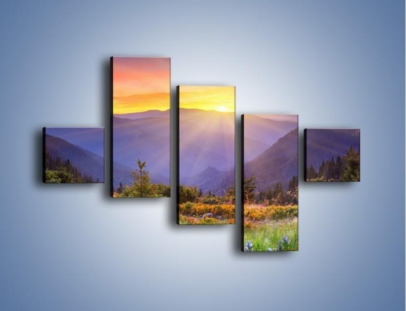 Obraz na płótnie – Góry o zachodzie słońca – pięcioczęściowy KN014W3