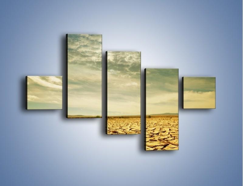 Obraz na płótnie – Ciemne chmury nad popękaną ziemią – pięcioczęściowy KN025W3