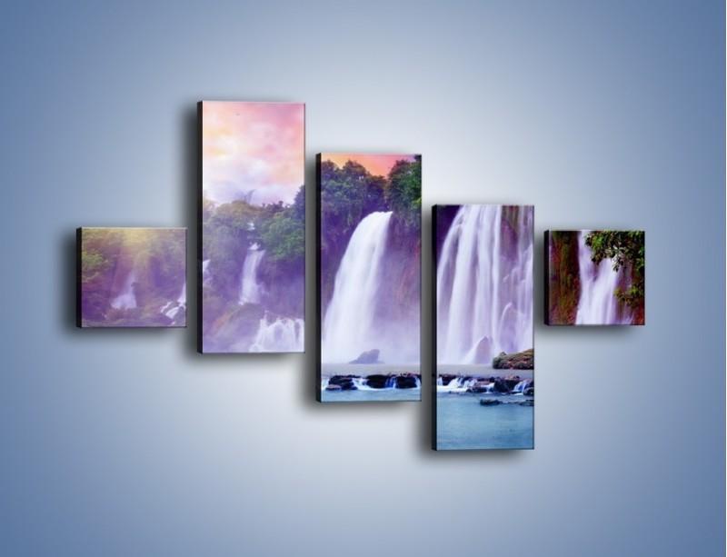 Obraz na płótnie – Wodospady jak z bajki – pięcioczęściowy KN026W3