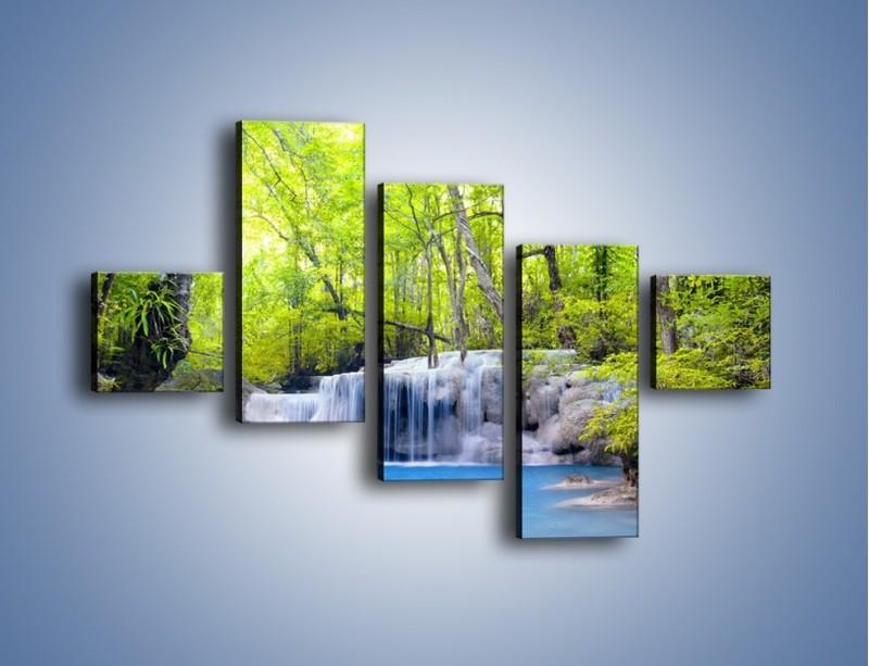 Obraz na płótnie – Mały leśny wodospad – pięcioczęściowy KN057W3