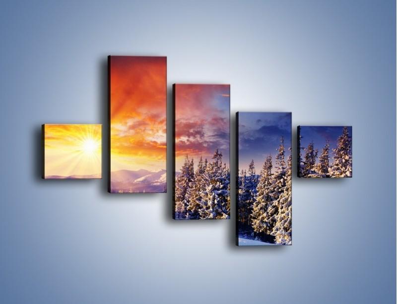 Obraz na płótnie – Urok zimowej pary – pięcioczęściowy KN098W3