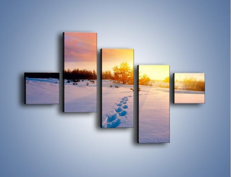 Obraz na płótnie – Ślady na śnieżnym puchu – pięcioczęściowy KN1015W3