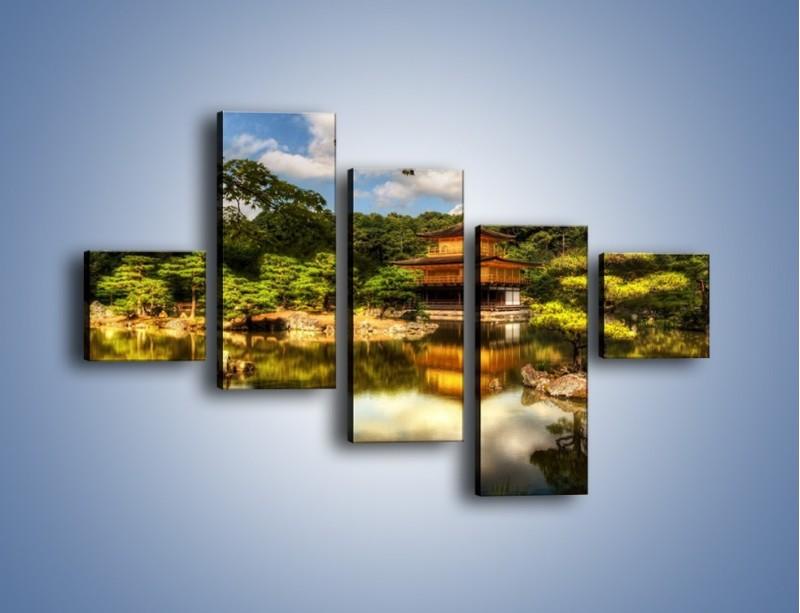Obraz na płótnie – Widok z domu na wodę – pięcioczęściowy KN1030W3