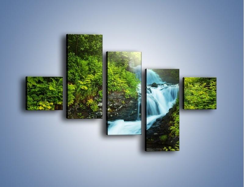 Obraz na płótnie – Spływ wodny i zieleń – pięcioczęściowy KN1069W3