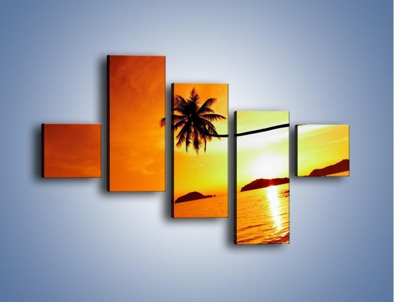 Obraz na płótnie – Palma o zachodzie słońca – pięcioczęściowy KN1077W3