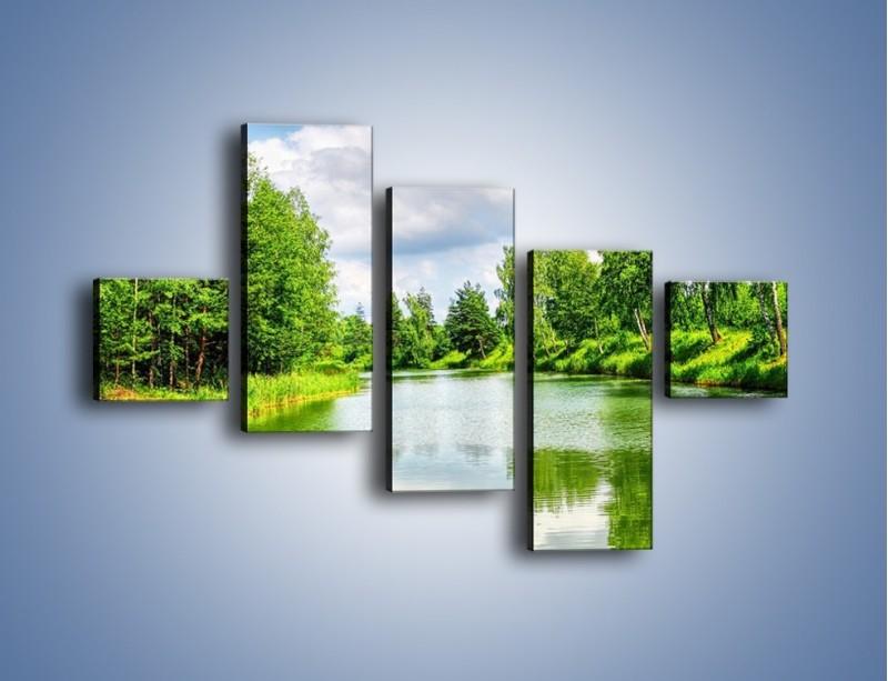Obraz na płótnie – Spokojna woda i las – pięcioczęściowy KN1086W3