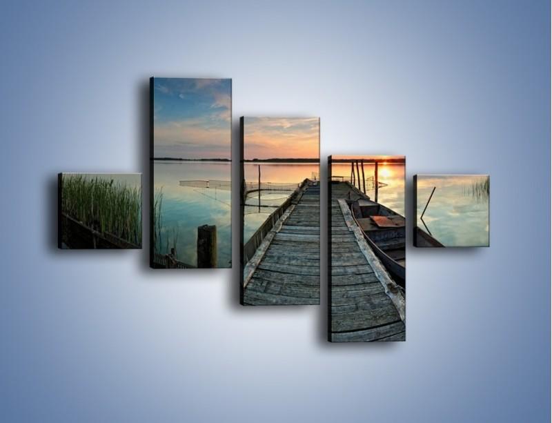 Obraz na płótnie – Stary most i łódź – pięcioczęściowy KN1096AW3