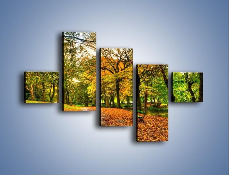 Obraz na płótnie – Piękna jesień w parku – pięcioczęściowy KN1098AW3