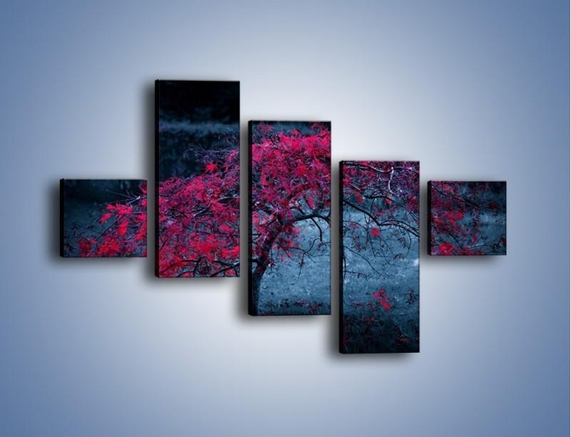 Obraz na płótnie – Czerwone płaczące drzewo – pięcioczęściowy KN1101AW3