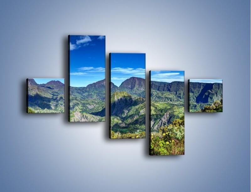 Obraz na płótnie – Zieleń ukryta wysoko w górach – pięcioczęściowy KN1106W3