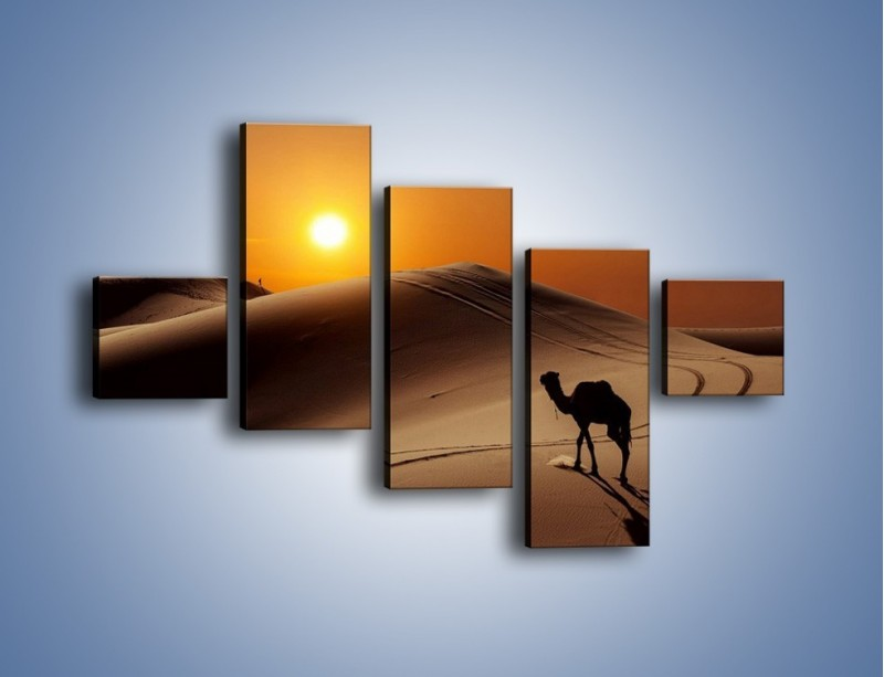 Obraz na płótnie – Człowiek wielbłąd i wydmy – pięcioczęściowy KN1134AW3