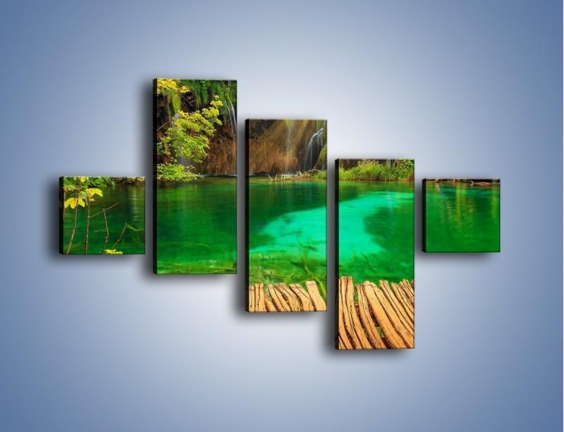 Obraz na płótnie – Zielone oczko wodne i drewno – pięcioczęściowy KN1149AW3