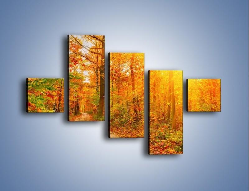 Obraz na płótnie – Leśną drużką jesienią – pięcioczęściowy KN1163AW3