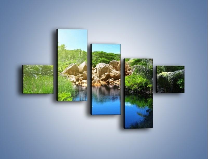 Obraz na płótnie – Wapienne skałki na wodzie – pięcioczęściowy KN1188AW3