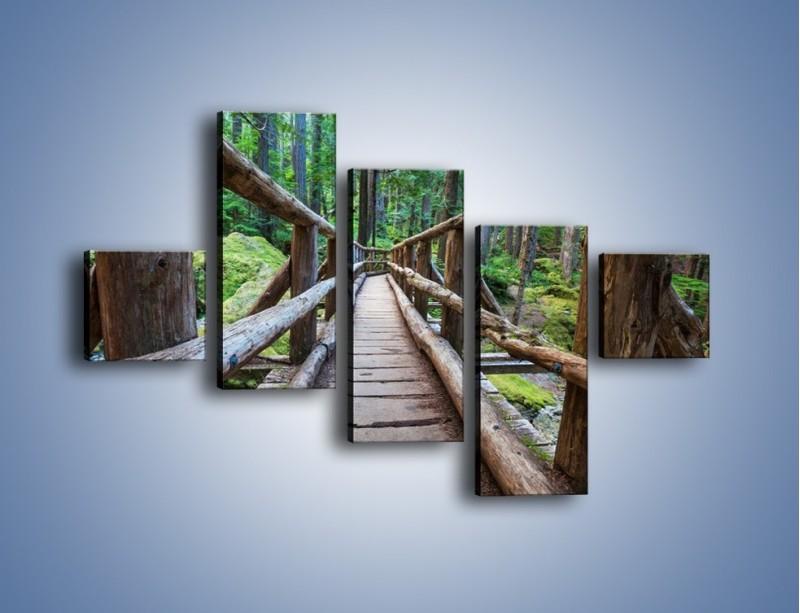 Obraz na płótnie – Mostek z drewnianych bali – pięcioczęściowy KN1207AW3