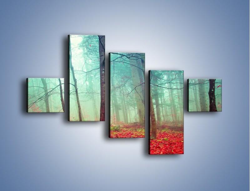 Obraz na płótnie – Drzewka na czerwonym dywanie – pięcioczęściowy KN1222AW3