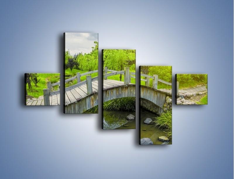 Obraz na płótnie – Mały mostek przez rzeczkę – pięcioczęściowy KN1254AW3