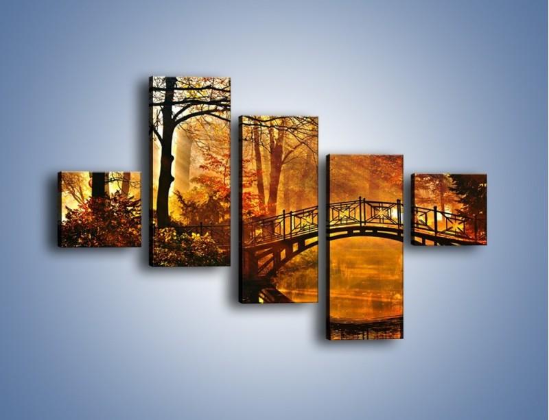 Obraz na płótnie – Cudowny spacer jesienną porą – pięcioczęściowy KN1319AW3