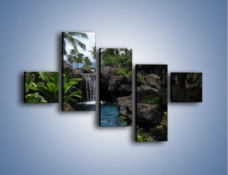 Obraz na płótnie – Wodospad wśród palm – pięcioczęściowy KN208W3