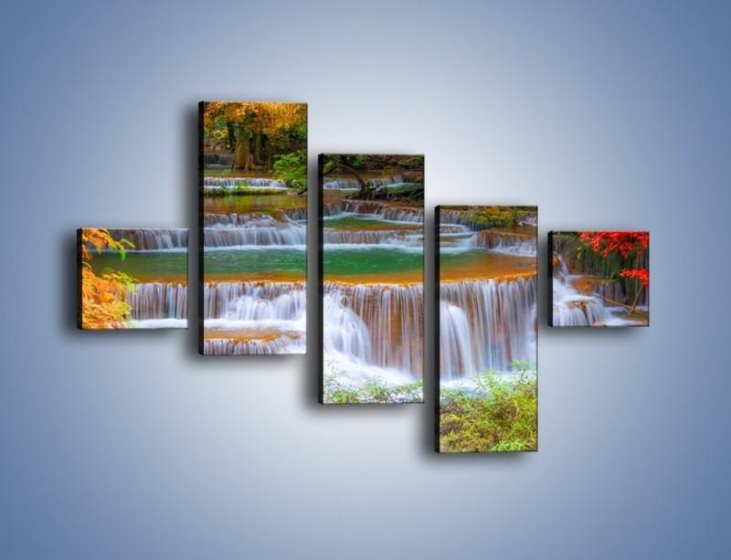 Obraz na płótnie – Schodki z wodospadów – pięcioczęściowy KN287W3