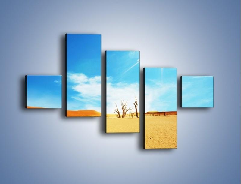 Obraz na płótnie – Błękit nieba i słońce w ziemi – pięcioczęściowy KN331W3