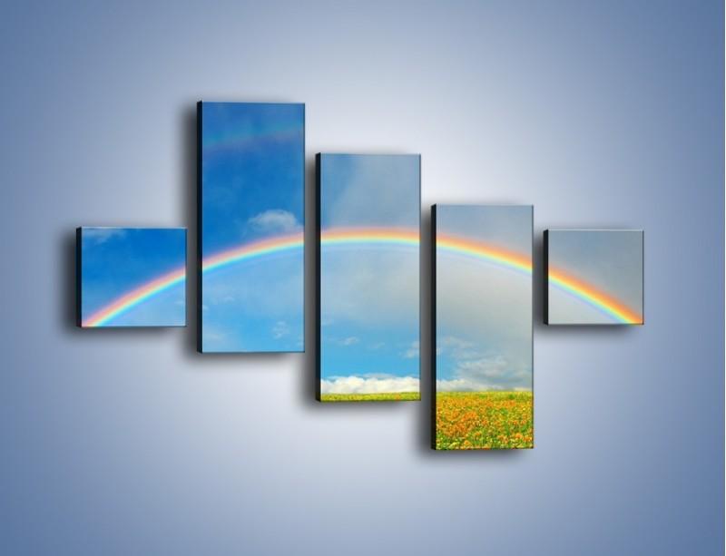 Obraz na płótnie – Urok kolorowej tęczy – pięcioczęściowy KN406W3