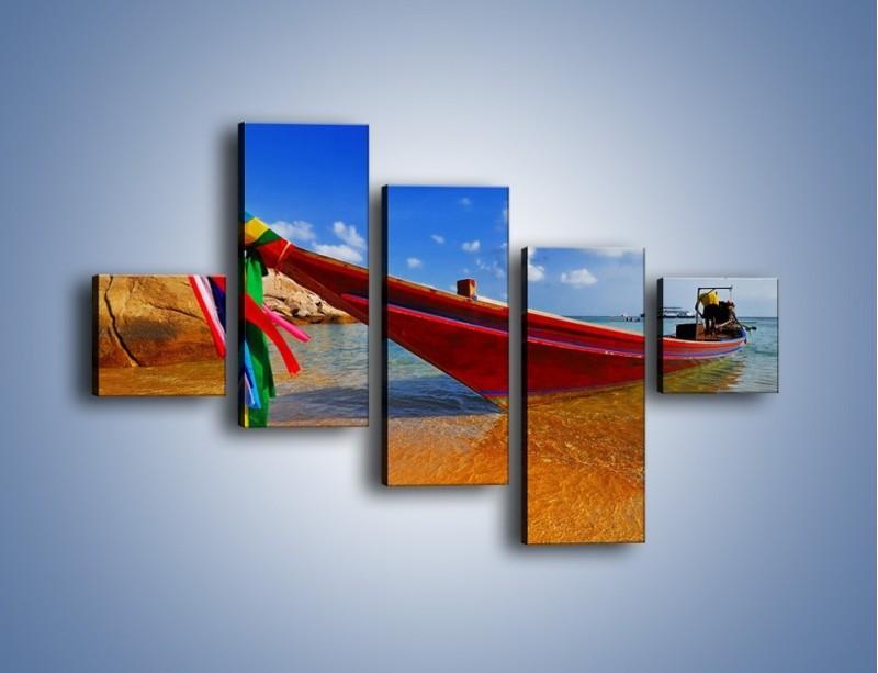 Obraz na płótnie – Kolorowa łódź na brzegu – pięcioczęściowy KN415W3