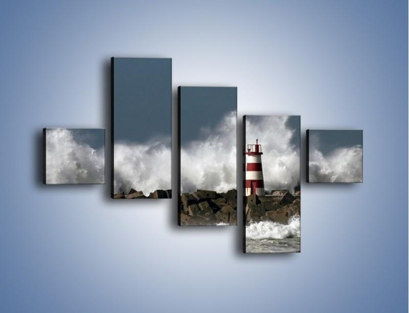 Obraz na płótnie – Latarnia morska w sztormie – pięcioczęściowy KN626W3