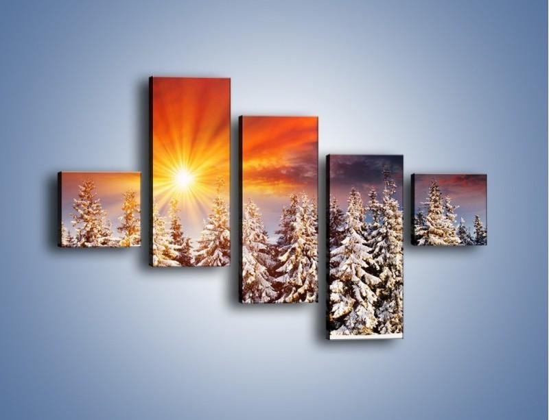 Obraz na płótnie – Choinki w środku zimy – pięcioczęściowy KN682W3