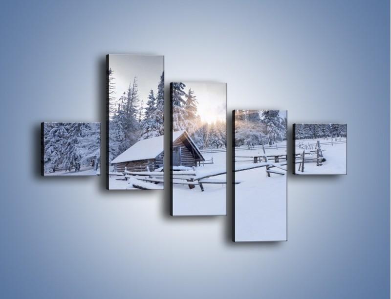 Obraz na płótnie – Chatka zatopiona w śniegu – pięcioczęściowy KN696W3
