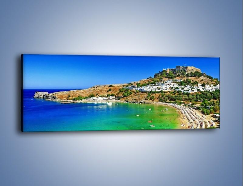 Obraz na płótnie – Kurorty nad spokojnym morzem – jednoczęściowy panoramiczny KN1145A