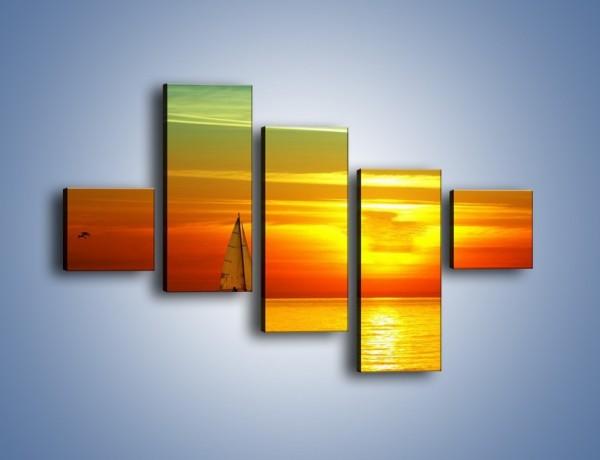 Obraz na płótnie – Rejs przy zachodzie słońca – pięcioczęściowy KN723W3