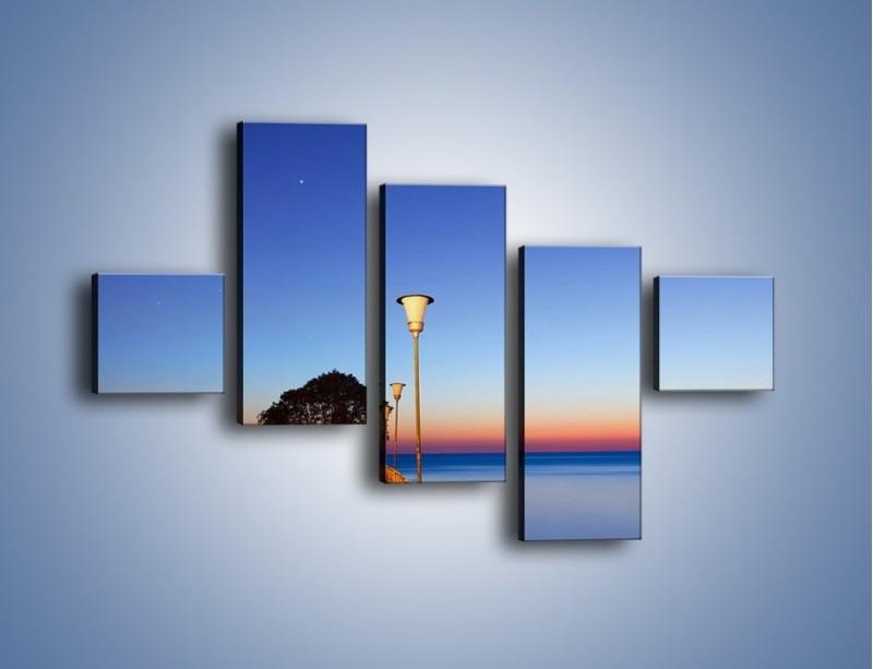 Obraz na płótnie – Wieczorny spacer po tafli morza – pięcioczęściowy KN759W3