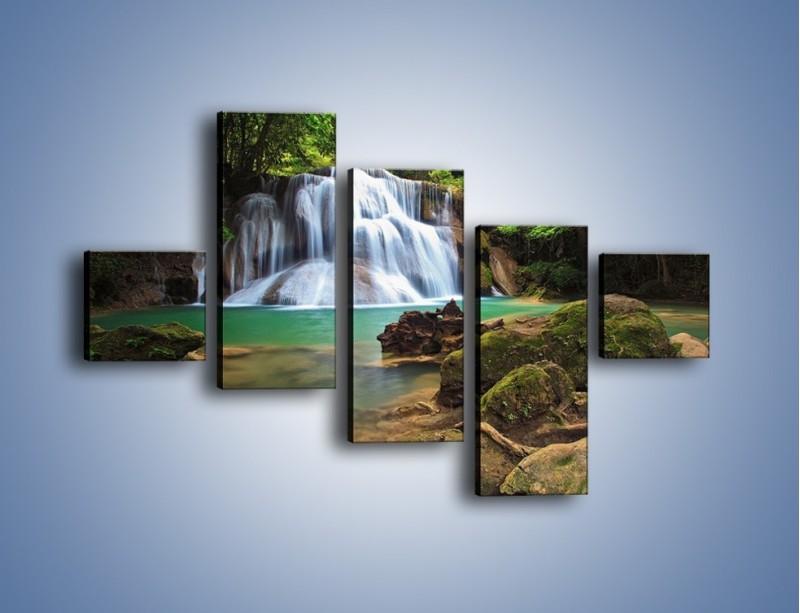 Obraz na płótnie – Drzewa schowane za wodospadem – pięcioczęściowy KN792W3