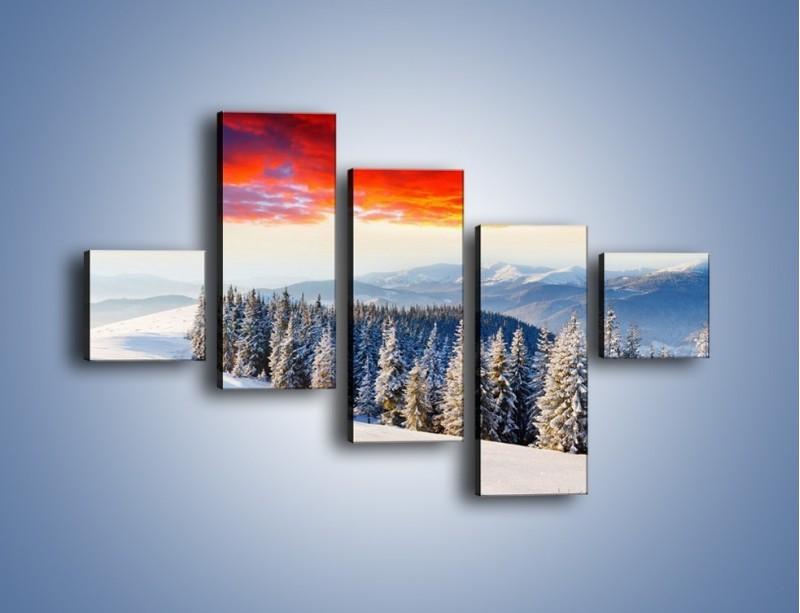 Obraz na płótnie – Cały urok gór zimą – pięcioczęściowy KN805W3