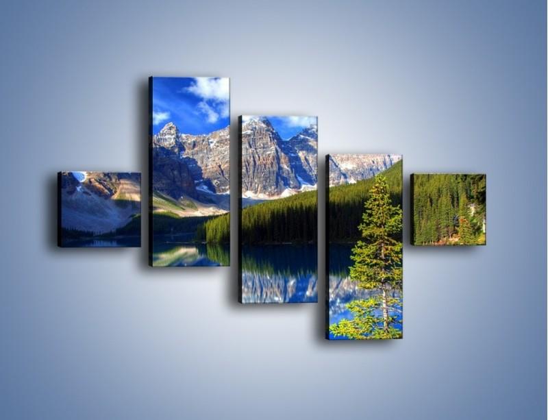 Obraz na płótnie – Góry i ich wodne odbicie – pięcioczęściowy KN839W3