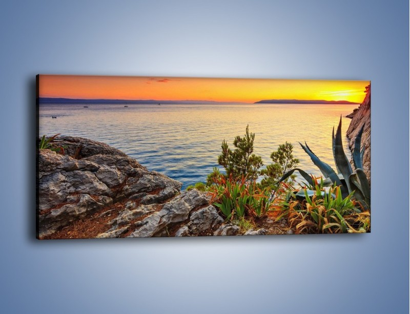 Obraz na płótnie – Spokojna tafla wody – jednoczęściowy panoramiczny KN1147A