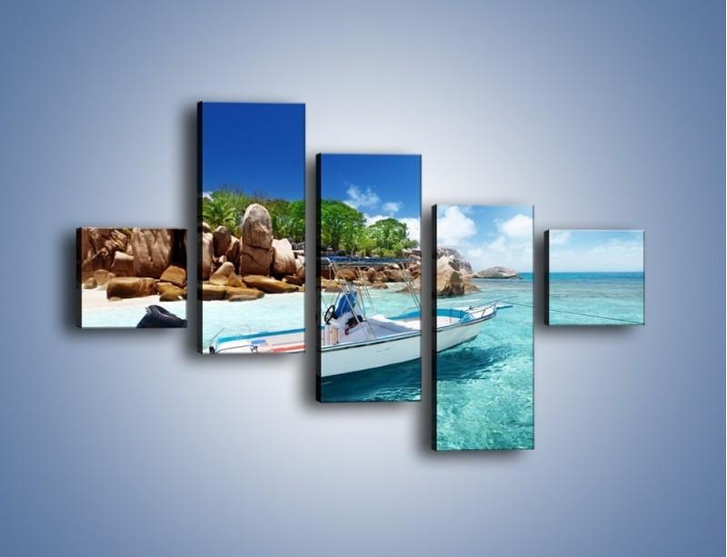 Obraz na płótnie – Błękit w wodzie i niebie – pięcioczęściowy KN852W3