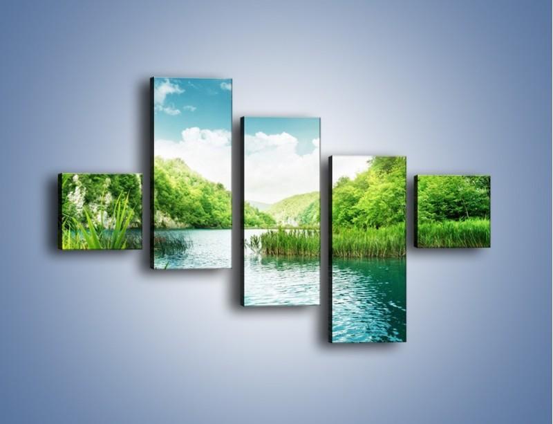 Obraz na płótnie – Wodnym śladem wśród zieleni – pięcioczęściowy KN884W3
