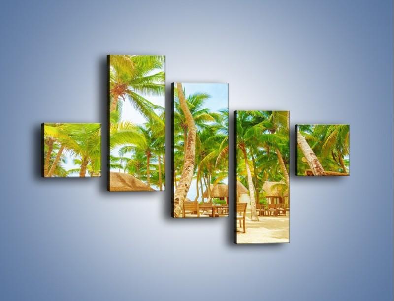 Obraz na płótnie – Słoneczna sjesta pod palmami – pięcioczęściowy KN886W3