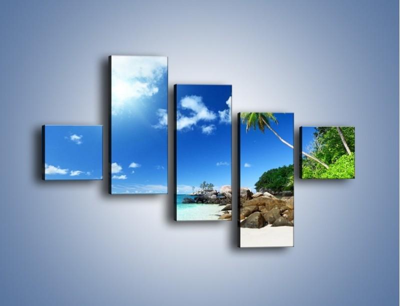 Obraz na płótnie – Rajska plaża i jej piękno – pięcioczęściowy KN963W3