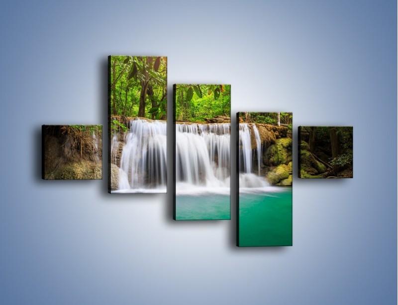 Obraz na płótnie – Kąpiel w środku lasu – pięcioczęściowy KN995W3