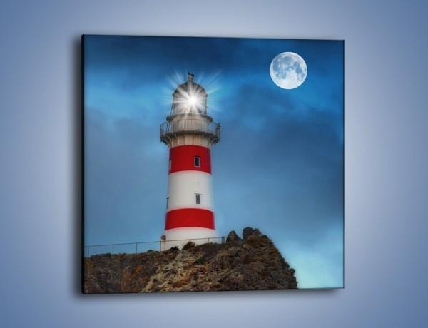 Obraz na płótnie – Latarnia morska pod pełnią księżyca – jednoczęściowy kwadratowy AM199