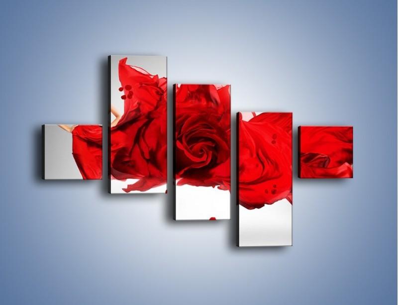 Obraz na płótnie – Czerwona róża i kobieta – pięcioczęściowy L144W3