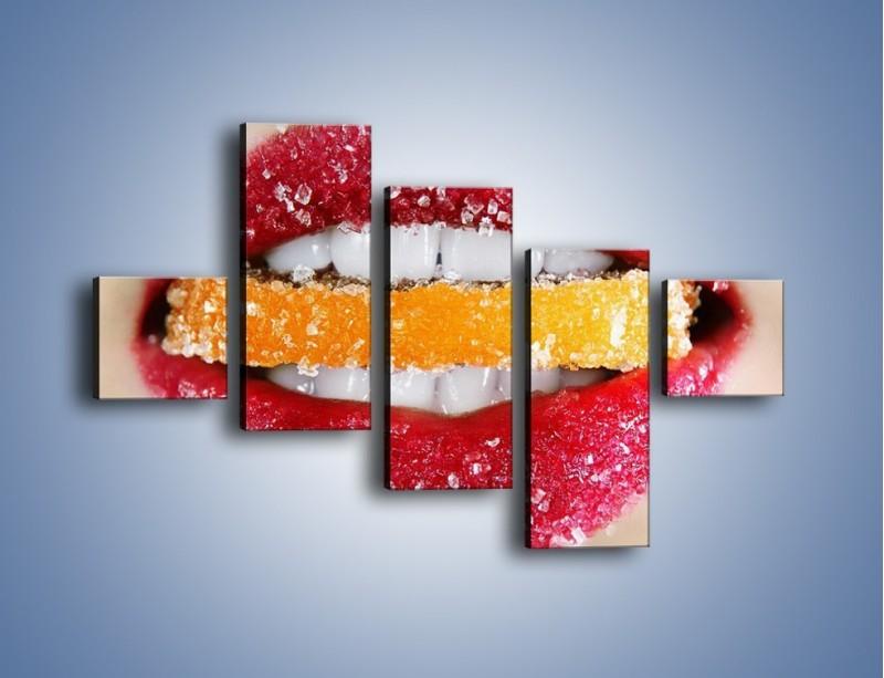 Obraz na płótnie – Cytrusy w słodkich ustach – pięcioczęściowy L207W3