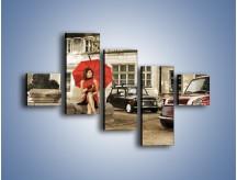 Obraz na płótnie – Damski świat z dodatkiem czerwonego – pięcioczęściowy L242W3