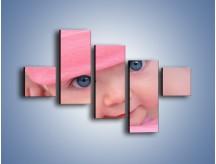 Obraz na płótnie – Bobas w różowej czapeczce – pięcioczęściowy L256W3