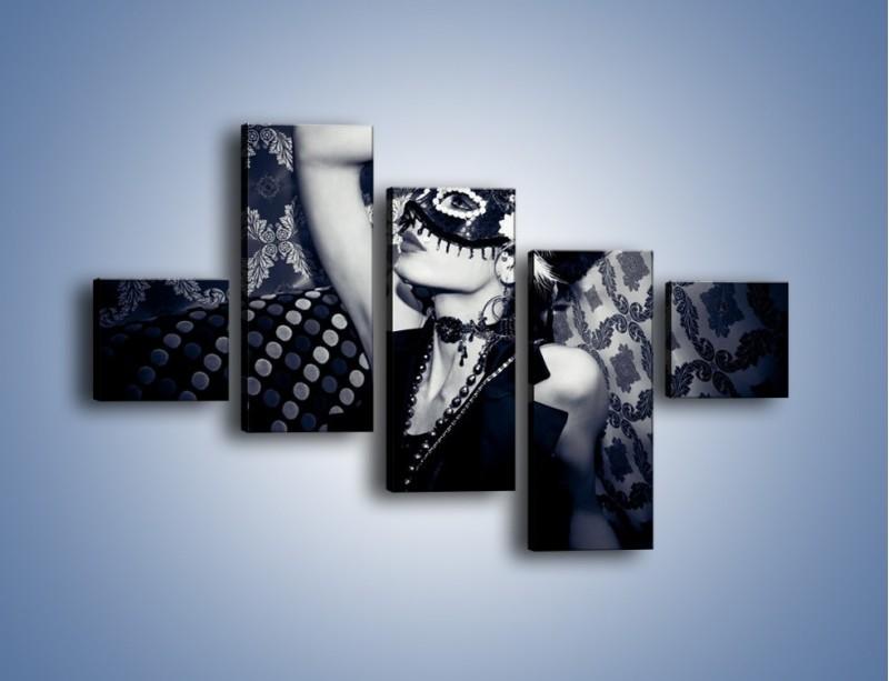 Obraz na płótnie – Czarno-biała dama – pięcioczęściowy L315W3
