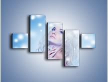 Obraz na płótnie – Biała dama i światełka – pięcioczęściowy L318W3