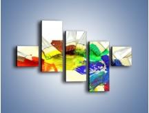 Obraz na płótnie – Kolory pędzlem malowane – pięcioczęściowy O046W3